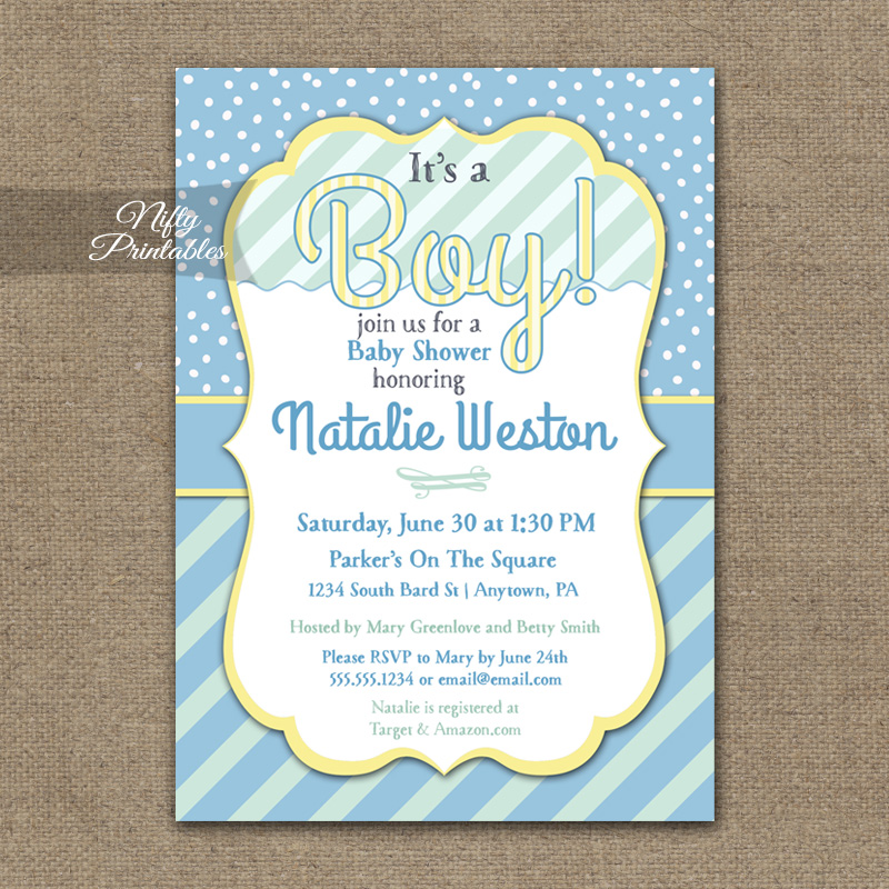 Blue Yellow It's A Boy Baby Shower Invitation