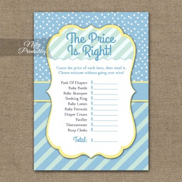 Price Is Right Baby Shower Game - Blue Yellow Whimsey