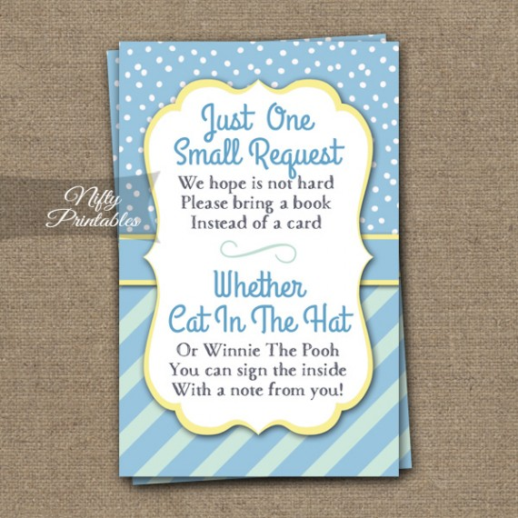 Bring A Book Baby Shower Insert - Blue Yellow Whimsey
