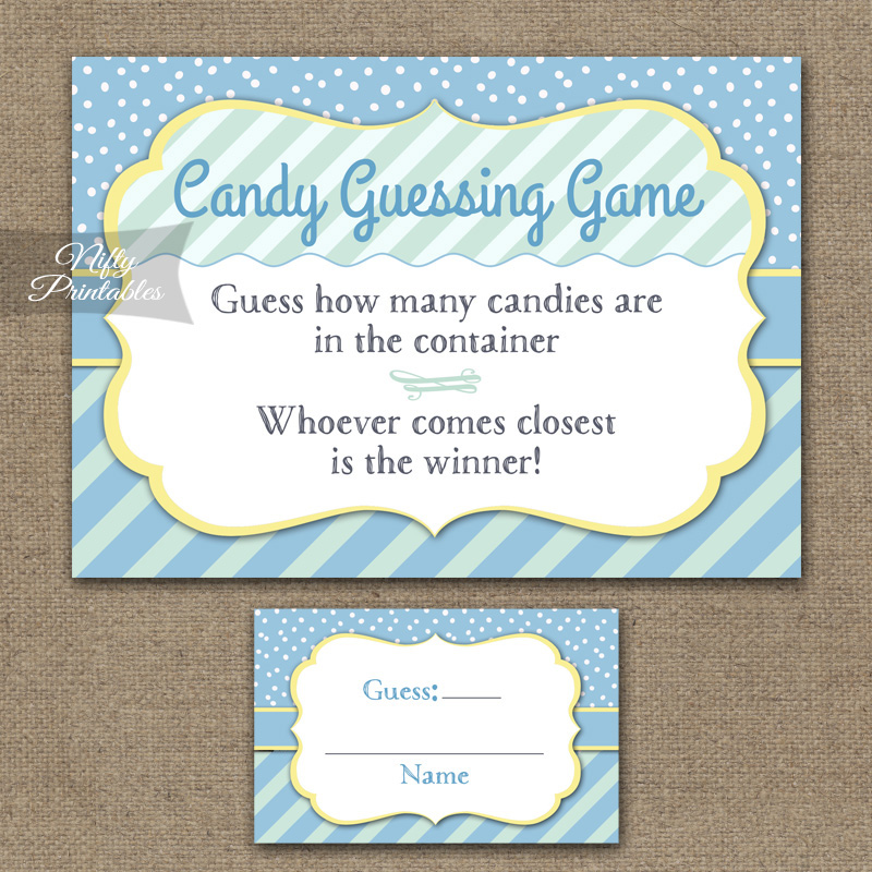 Candy Guessing Game - Blue Yellow Whimsey