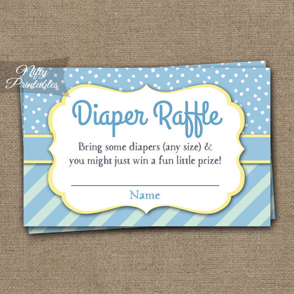 Diaper Raffle Baby Shower - Blue Yellow Whimsey