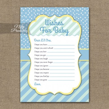 Wishes For Baby Shower Game - Blue Yellow Whimsey