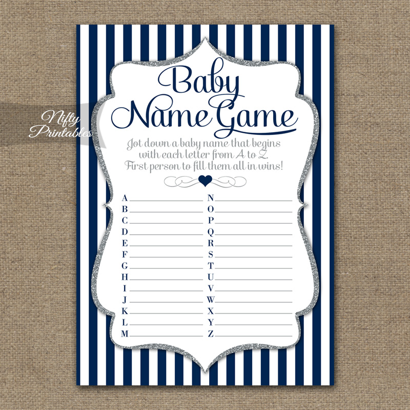 The Baby Name Game - Navy Blue Silver