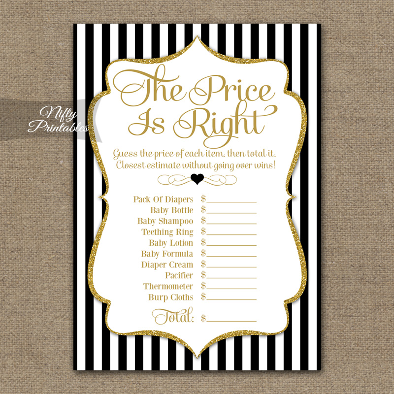 Price Is Right Bridal Shower - Black Gold