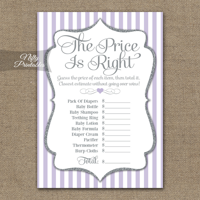 Price Is Right Bridal Shower - Lilac Silver