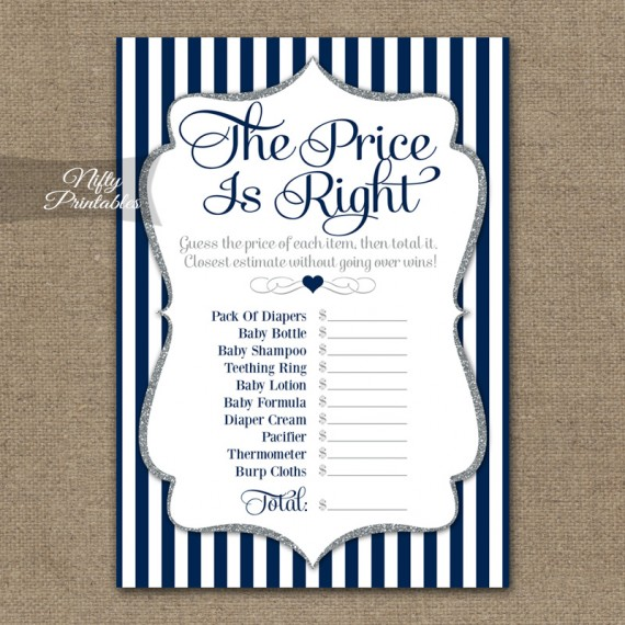 Price Is Right Bridal Shower - Navy Blue Silver