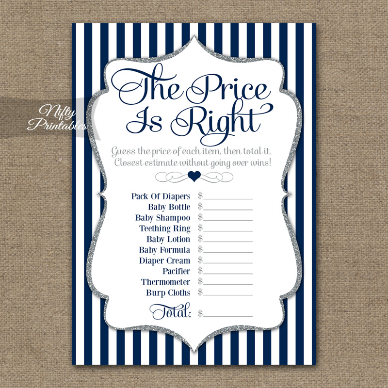 Price Is Right Baby Game - Navy Blue Silver