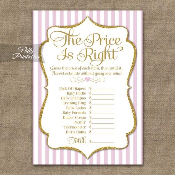 Printable price is right bridal shower pink gold for Price is right bridal shower game template