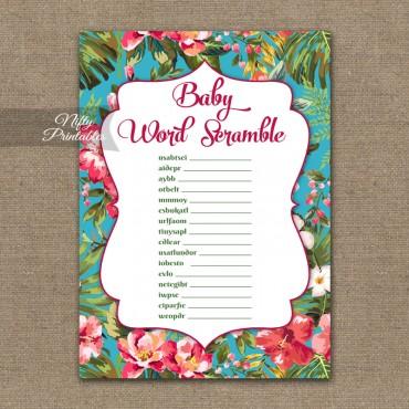 Baby Shower Word Scramble Game - Tropical Luau
