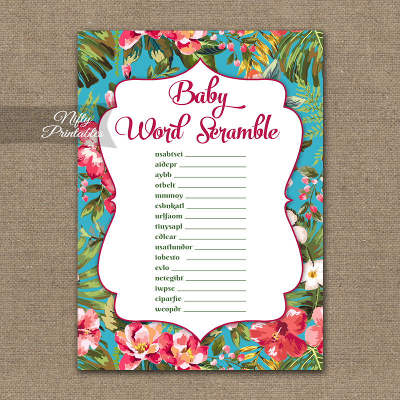 picture about Printable Luau Party Games named Little one Shower Phrase Scramble Activity - Tropical Luau