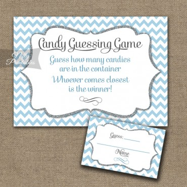 Candy Guessing Game - Blue Chevron