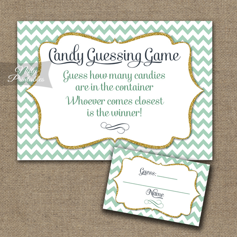 Candy Guessing Game - Mint Gold Chevron