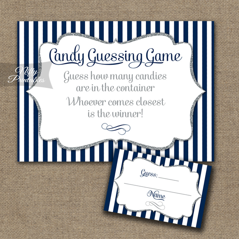 Candy Guessing Game - Navy Blue Silver