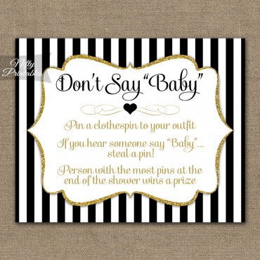 Don't Say Baby Shower Game - Black Gold