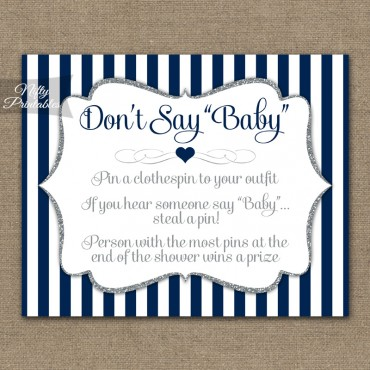 Don't Say Baby Shower Game - Navy Blue Silver