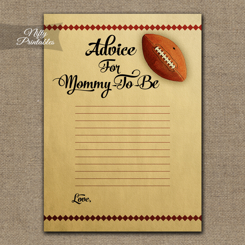 Advice For Mommy Baby Shower Game - Football
