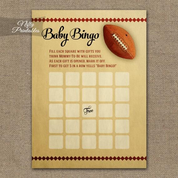 Baby Shower Bingo Game - Football