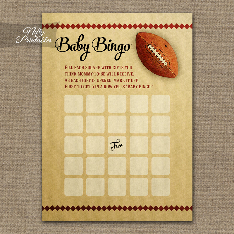 Baby Shower Bingo Game - Football