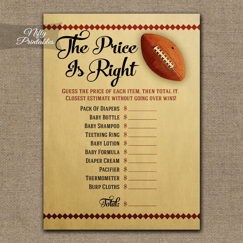 Price Is Right Baby Shower Game - Football