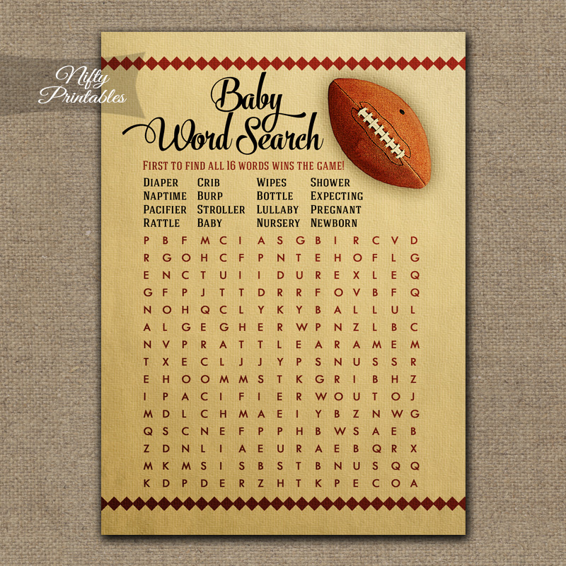 Baby Shower Word Search Game - Football