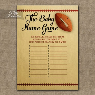 Name Game Baby Shower - Football