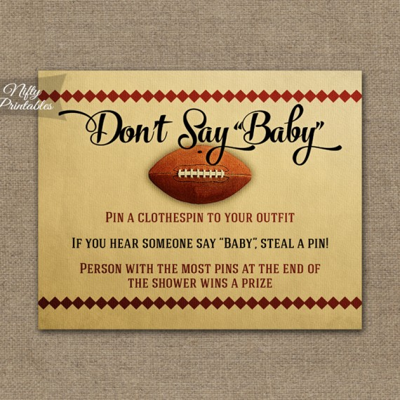 Don't Say Baby Shower Game - Football