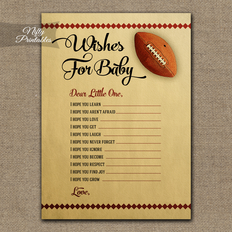 Wishes For Baby Shower Game - Football