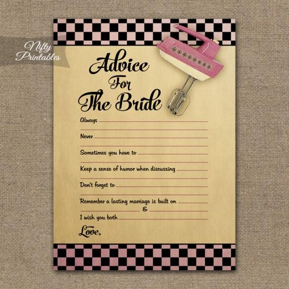 Bridal Shower Advice Cards - Kitchen Shower