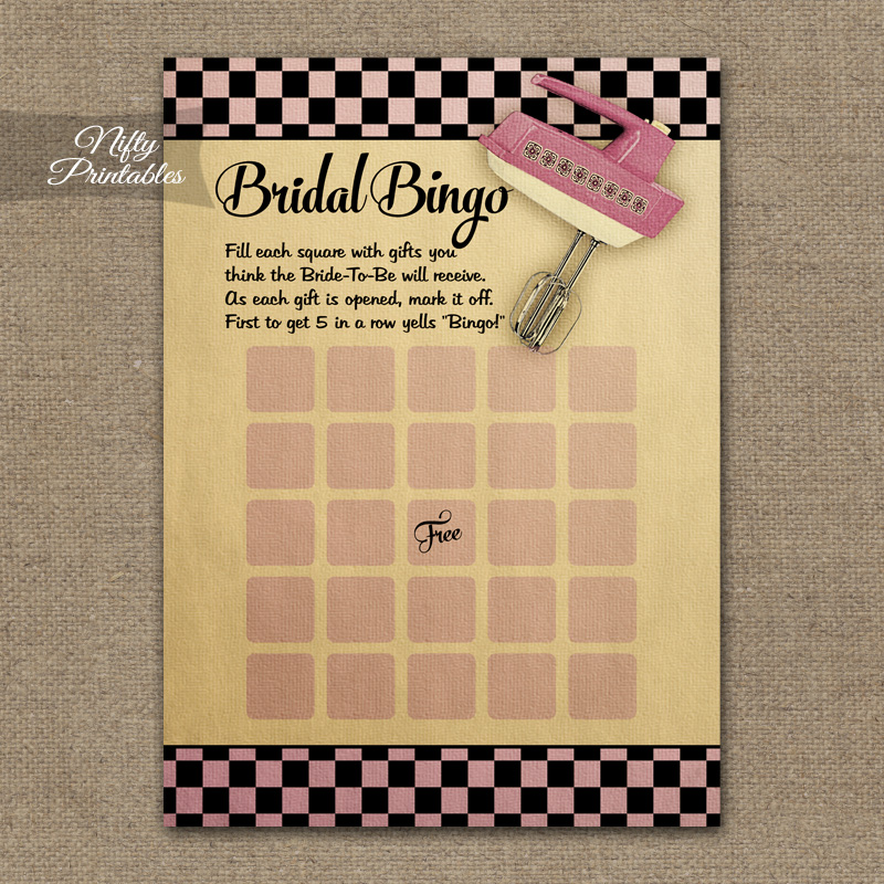 Bridal Shower Bingo Game - Kitchen Shower