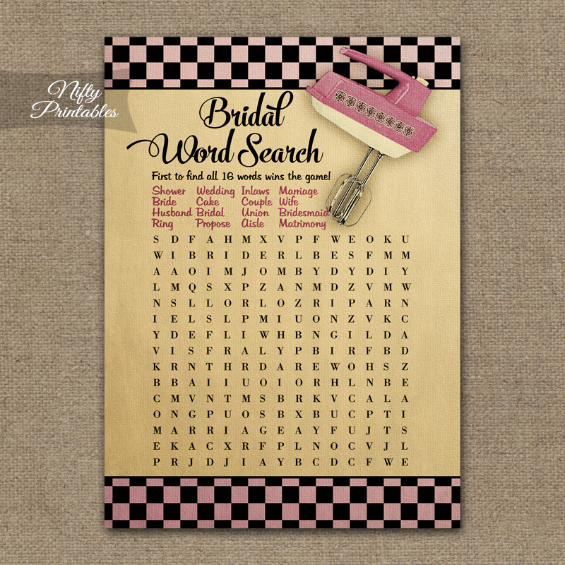 Bridal Shower Word Search Game - Kitchen Shower