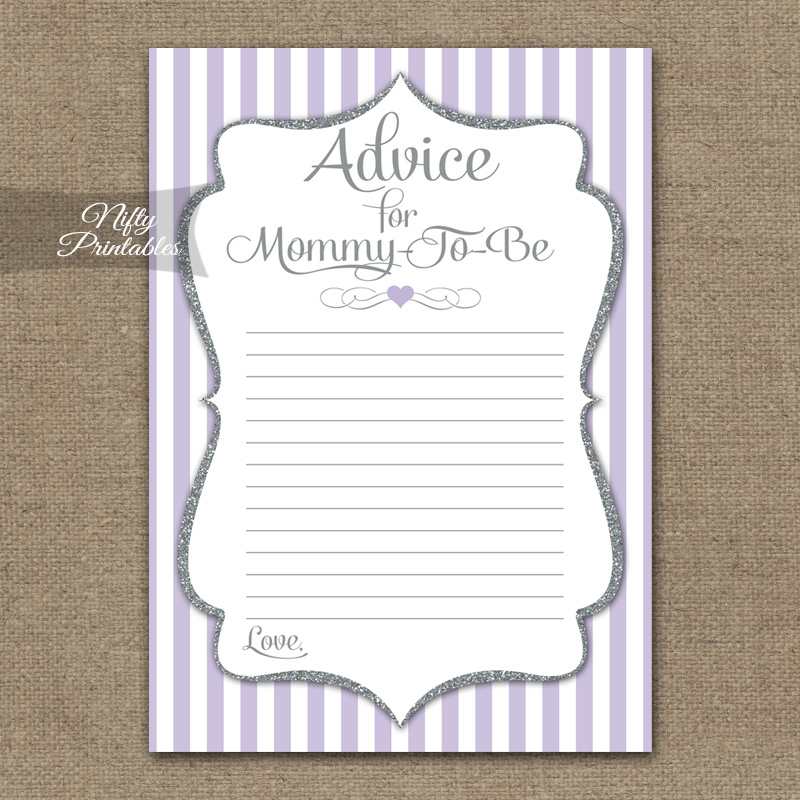 Advice For Mommy Baby Shower Game - Lilac Silver
