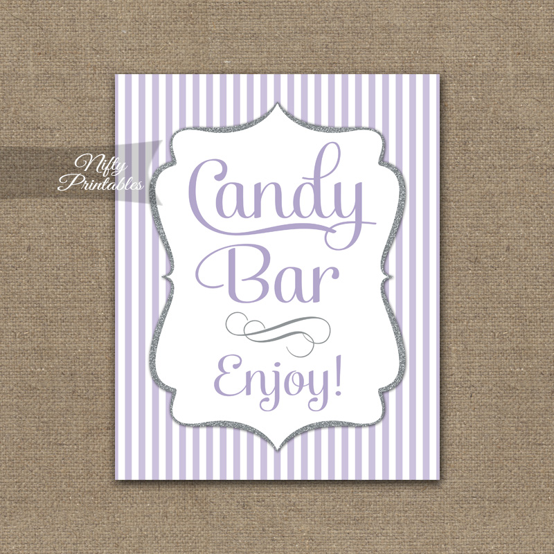 Candy Buffet Sign - Lilac Silver Stripe