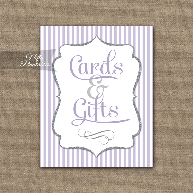 Cards & Gifts Sign - Lilac Silver Stripe