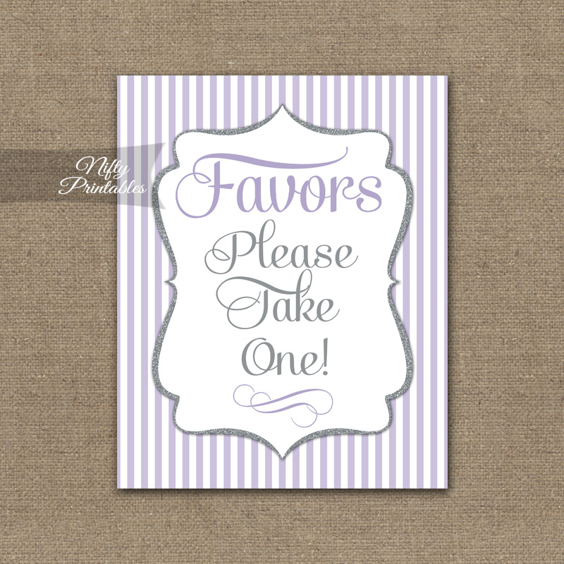 Favors Sign - Lilac Silver Stripe