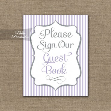 Guest Book Sign - Lilac Silver Stripe