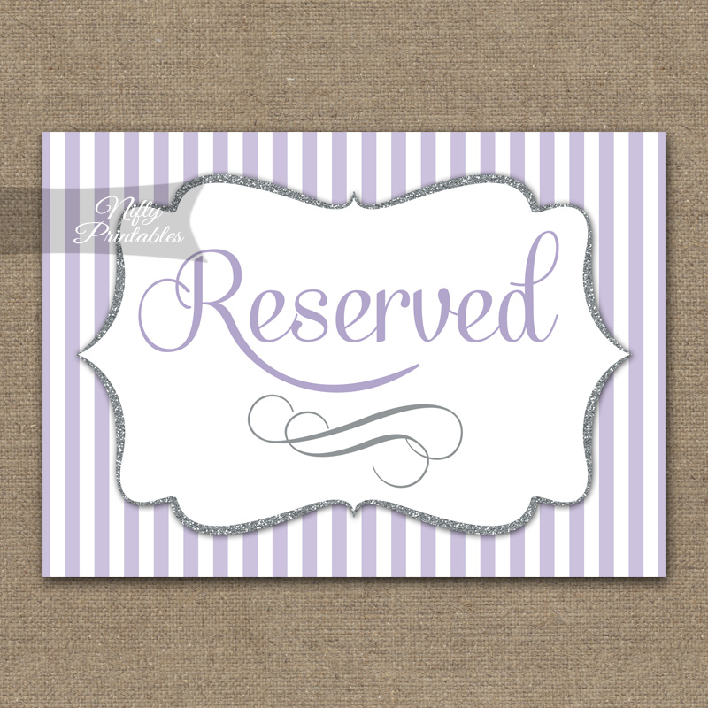 Reserved Sign - Lilac Silver Stripe