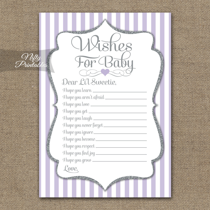 Wishes For Baby Shower Game - Lilac Silver