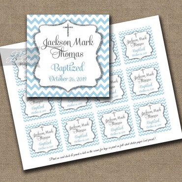 Blue Chevron Baptism Favor Tags