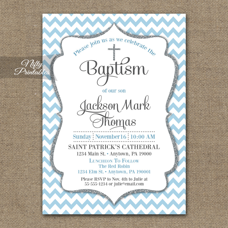 Blue Chevron Baptism Invitations - Silver Glitter