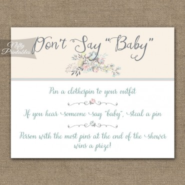 Don't Say Baby Shower Game - Floral Bouquet