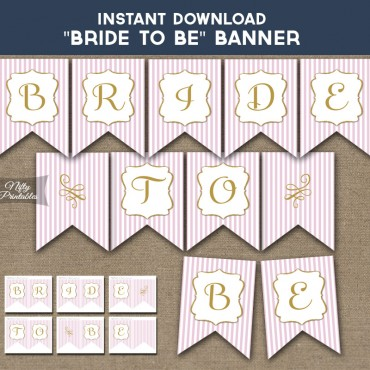Bridal Shower Banner - Pink Gold