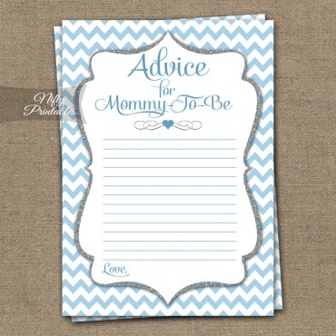Advice For Mommy Baby Shower Game - Blue Chevron