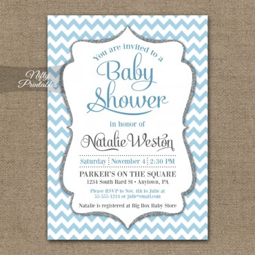 Blue White Chevron Baby Shower Invitation