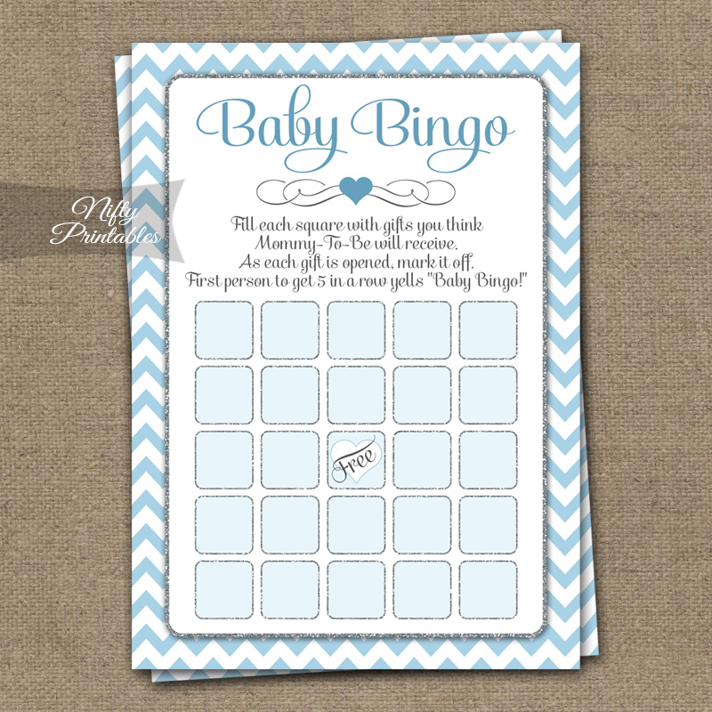 Baby Shower Bingo Game - Blue Chevron