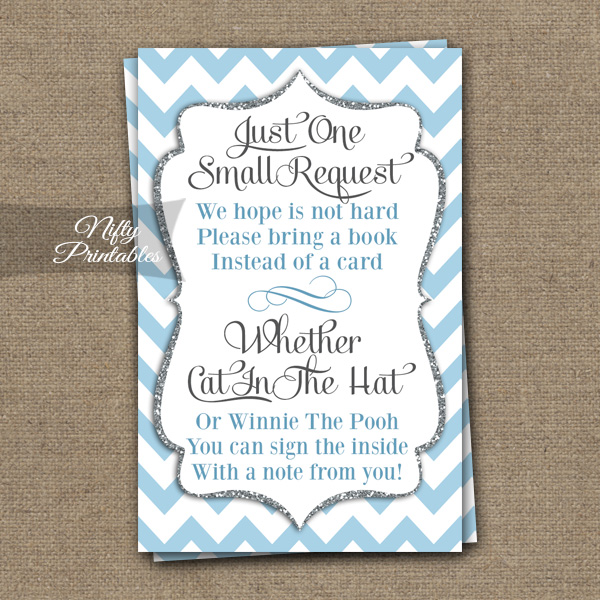 Bring A Book Baby Shower Insert - Blue Chevron