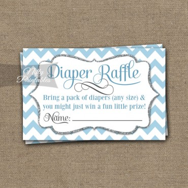 Diaper Raffle Baby Shower - Blue Chevron