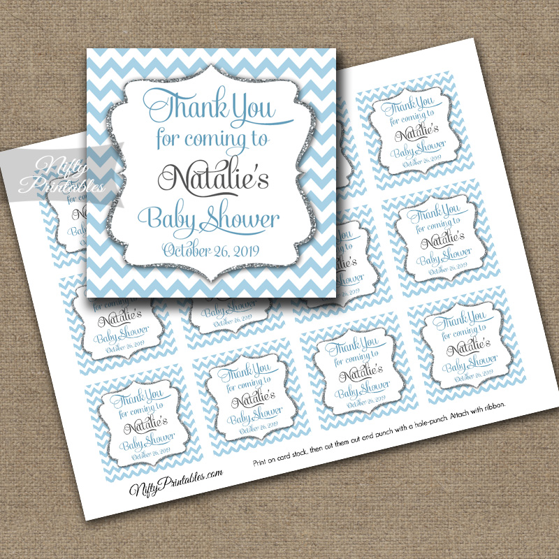 Blue Chevron Personalized Thank You Favor Tags