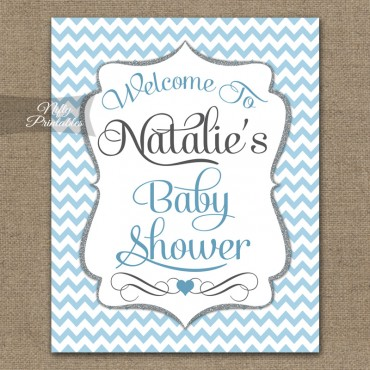 Blue Chevron Baby Shower Welcome Sign