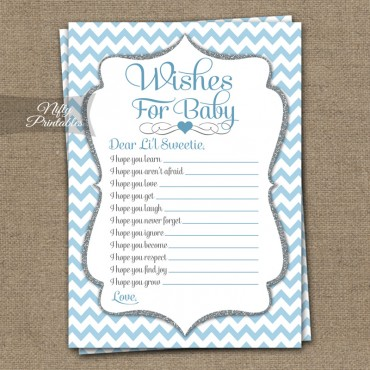 Wishes For Baby Shower Game - Blue Chevron