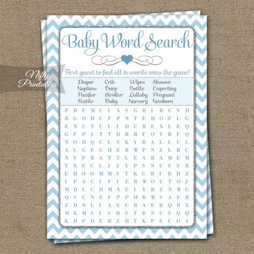 Baby Shower Word Search Game - Blue Chevron